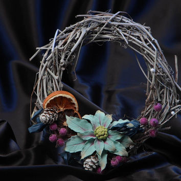 Beautiful handmade wicker door wreath with polymer clay flowers for home decor