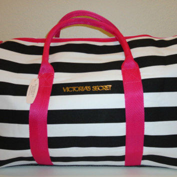 Victoria's Secret Black White Stripes Getaway Duffle Weekend Huge Tote Bag