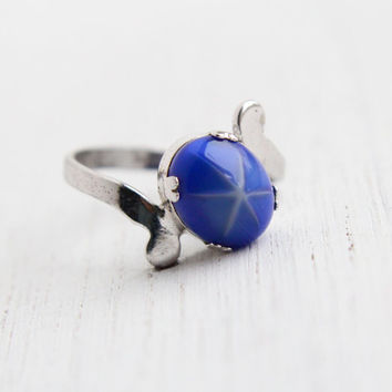 Vintage Sterling Silver Blue Sapphire Star Ring - White Star Rhodium Plated Size 7 1/4 Jewelry / Designer Uncas