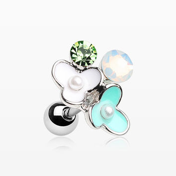 Flower Ranai Sparkle Pearlescent Cartilage Tragus Earring
