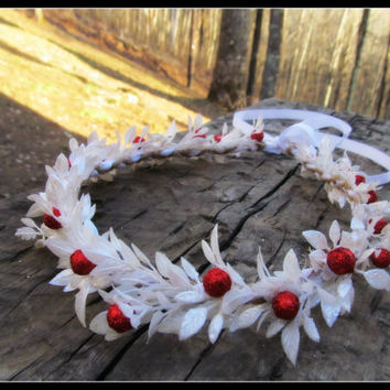white berry crown, snow headband, christmas, Flower Headband, berry, vine, flower girl, winter, head piece, wreath, Headband, ivy,
