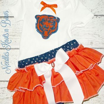 Girls Chicago Bears  Cheerleader Outfit, Baby Girls Bears Coming Home Outfit, Football, Game Day, Tailgating