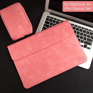BESTCHOI PU Leather Laptop Sleeve Bag for Macbook Air 13.3 Case Pro 13 Cover Women Men 13.3 inch Laptop Case for Mac book Air 13