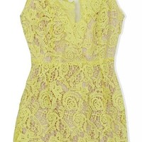 Lovaru Women's Short Sleeve Yellow Lace Mini Dress