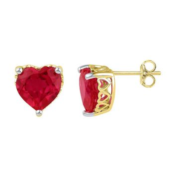 10kt Yellow Gold Womens Heart Lab-Created Ruby Heart Stud Earrings 7.00 Cttw
