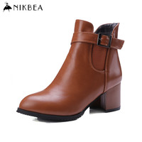 2016 Nikbea Winter Ankle Boots for Women Large Size Leather Boots Ladies Pu Leather Booties Brand Chunky Heel Black/brown/red