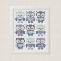 Instant Download Free shipping baby cross stitch Pattern Birds Owl Set of 9 animal sampler cross stitch modern baby boy decor room blue gray