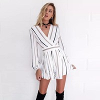 Kira Striped Long-sleeve Playsuit