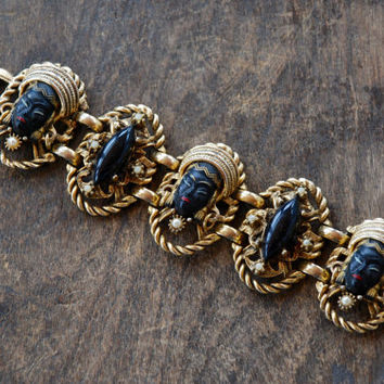 Vintage Selro Selini Link Bracelet Asian Princess Black Painted Faces Gold Tone Faux Pearls Chunky Unsigned 1950's / Vintage Costume Jewelry