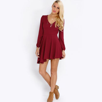 Red Wine Backless Long Sleeve Chiffon Dress