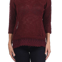 Knitted Sweater With Sheer Lace Trim