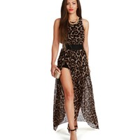 Brown On The Prowl Leopard Maxi Dress