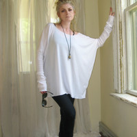 Off Shoulder Sweater Womens Plus Size Top OverSize Tee Long Sleeved Tunic Boxy Top - White - XSmall - XLarge - Made to Order