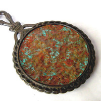 Pot stand. Cast iron trivet. Copper trivet. Rusty metal. Verdigris patina. Upcycled vintage.