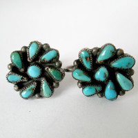Vintage Turquoise Sterling Silver Earrings Screwback Screw Back Style Mid Century Collectibles Petals of Turquoise Stones in a Wreath