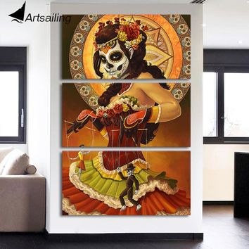 HD printed 3 piece canvas art Day of the Dead Face painting wall pictures for living room modern free shipping/NY-7140C
