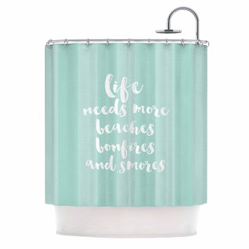 "Sylvia Cook ""Beaches & Bonfires - Mint"" Green Typography Shower Curtain"