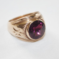 Art Deco 10kt GF Mens Amethyst Ring 1920s Jewelry Wedding Band