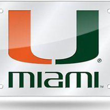 Miami Hurricanes SILVER SD00609 Deluxe Laser Cut License Plate Tag University of