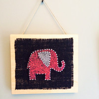 Pink Elephant Home Decor String Art From Edgeofthewoodsart On