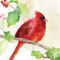 Cardinal Holly Watercolor Painting - Giclee Print - 5 x 7