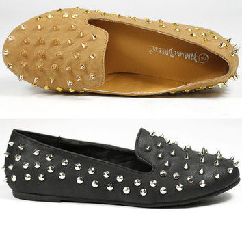 Spike Studded Slip On Loafers Flats Nature Breeze Leila-13 Black Camel Brown