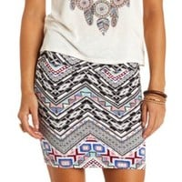 Aztec Chevron Print Bodycon Mini Skirt by Charlotte Russe