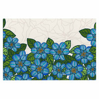 "Art Love Passion ""Blue Flower Field"" Beige Blue Decorative Door Mat"