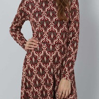 Vintage Burgundy Multicolor Long Sleeve Vintage Print Dress