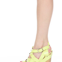 LIME CUT OUT STRAPPY WEDGES