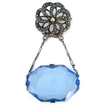 Art Deco Blue Czech Glass Lavalier Brooch PSCo Antique Pin