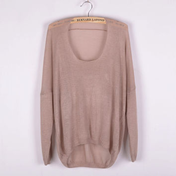 Pink Solid Irregular Pullovers Knitted Sweater for Women +Free Gift -Random Necklace -79