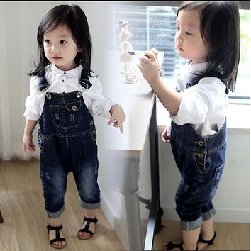Spring Autumn Toddler Baby Strap Bib Denim Trousers Children Unisex Cotton Animal blue Suspenders Jeans Kids Overall Pants