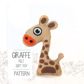 Felt Woodland Giraffe Sewing pattern, PDF stuffed toy