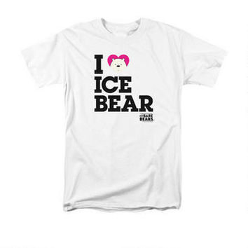 We Bare Bears Comic-Con 2015 I Heart Ice Bear Adult White T-Shirt | CartoonNetworkShop.com