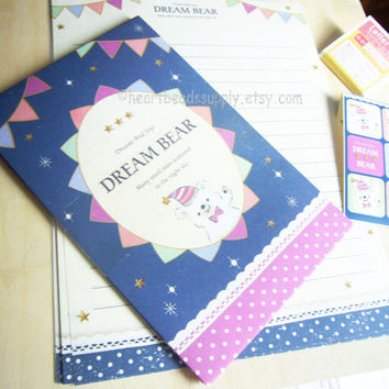 Dream Bear cute letter writing set, kawaii stationery, id1360728, scrapbooking, pen pal, letter writing, back to school, Japan