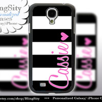 Monogram Black Stripe Galaxy S4 case S5 Hot Pink Heart Name Personalized Samsung Galaxy S3 Case Note 2 3 Cover Gold