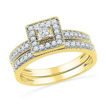 10kt Yellow Gold Women's Princess Diamond Square Halo Bridal Wedding Engagement Ring Band Set 1/2 Cttw - FREE Shipping (US/CAN)