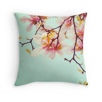 Floral Pillow Cover, Magnolias, Pale Blue, Soft Pink, Blossom Photo, Nursery Decor, Cottage Cushion, Shabby Chic Home Decor, Bridal Gift