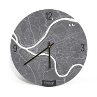 Pittsburgh, Pennsylvania, Map Art Wall Clock