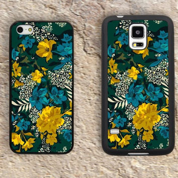 Blue Yellow Flowers iPhone Case-Patterns Floral iPhone 5/5S Case,iPhone 4/4S Case,iPhone 5c Cases,Iphone 6 case,iPhone 6 plus cases,Samsung Galaxy S3/S4/S5-307
