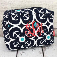 Navy Anchor Makeup Bag