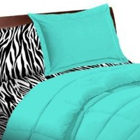 5 Piece Turquoise Zebra Twin Extra Long Bedding Set