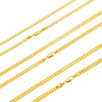 "NEW HOT SALE Men Gold-color Cuban Curb Chain Necklace Jewelry 24"" 60CM"