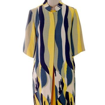 Vintage Linen  Yellow Sheath Dress & Abstract Printed Coat Edith Flagg 1970s 36-31-36