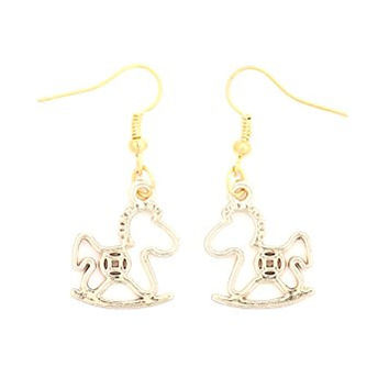 Rocking Horse Dangle Earrings Gold Tone Toy Pony EH37 Fashion Jewelry