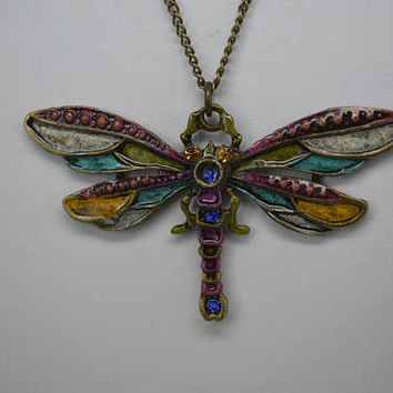 Dragonfly Pendant, Dragonfly Necklace, Hand Painted Dragonfly Pendant, Boho Chic Dragonfly Pendant, Dragonfly Jewelry, Dragon Fly