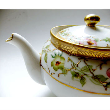 Antique Japanese Teapot with Apple Blossoms Beading Gold Moriage Morimura Nippon Circa 1940s Fine China