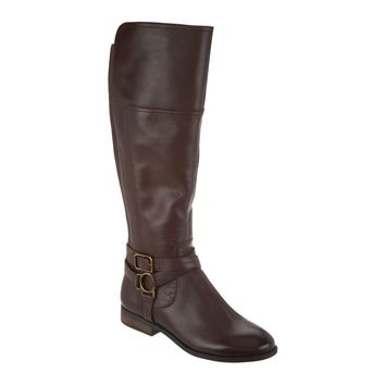Marc Fisher Aliza Women's Medium Calf Dark Brown Leather Tall Shaft Boots