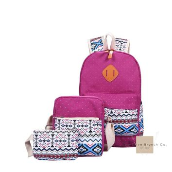 Chevron Backpack With Clutch Set